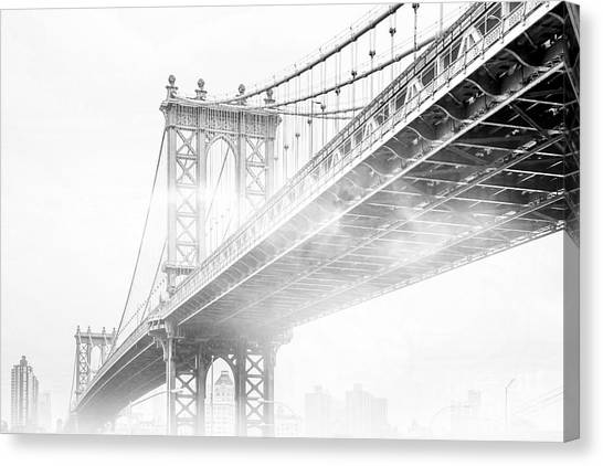 Bridge Canvas Print - Fog Under The Manhattan Bw by Az Jackson