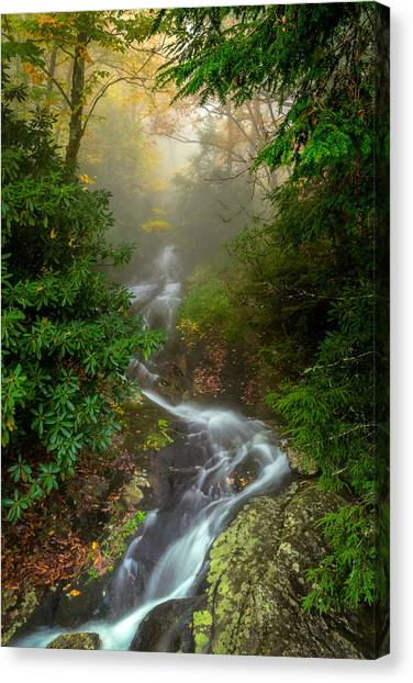 Foggy Autumn Cascades Canvas Print