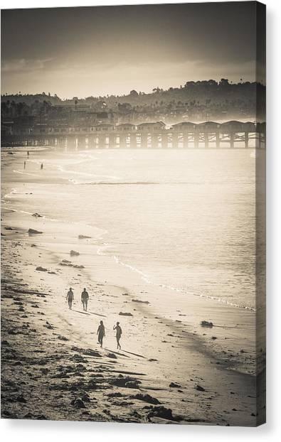 Canvas Print featuring the photograph Foggy Beach Walk by T Brian Jones