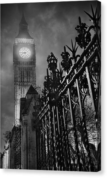 Palace Of Westminster Canvas Print - Foggy Big Ben by Thomas Zimmerman