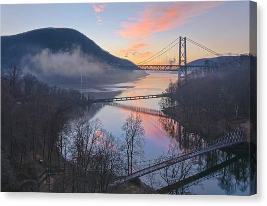 Foggy Dawn At Three Bridges Canvas Print
