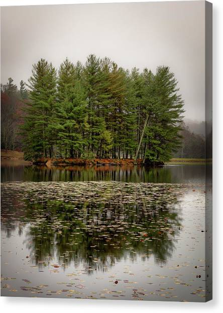 Foggy Island Reflections Canvas Print