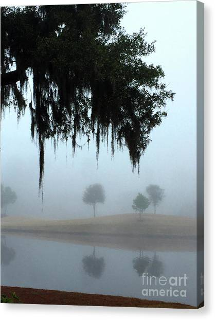 Canvas Print featuring the photograph Foggy Morn Reflections by Rick Locke