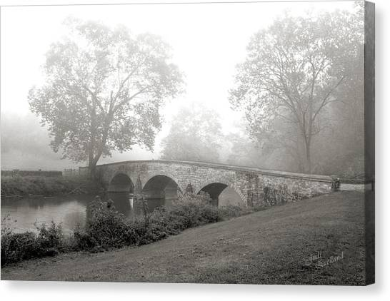 Foggy Morning At Burnside Bridge Canvas Print
