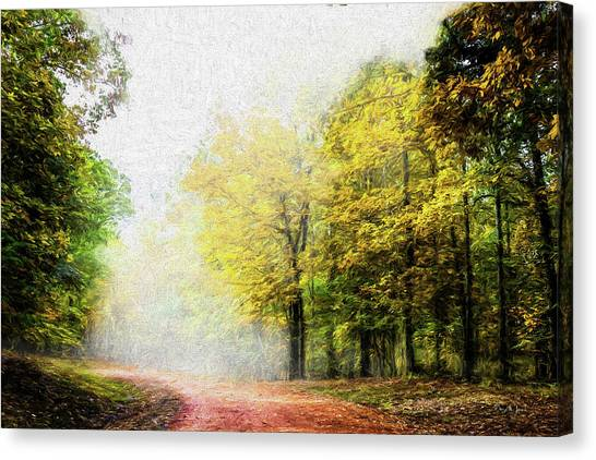 Canvas Print featuring the digital art Foggy Morning by Barry Jones