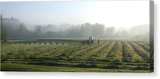 Foggy Morning Field 2 Canvas Print by Janet  Telander