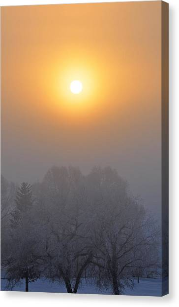 Foggy Morning In Montana's Gallatin Valley Canvas Print