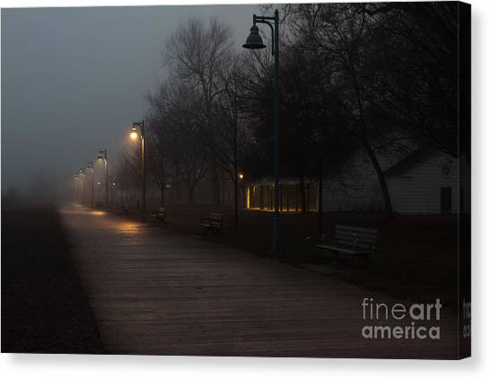 Foggy Morning Kew Beach Canvas Print