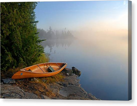 Landscapes Canvas Print - Foggy Morning On Spice Lake by Larry Ricker