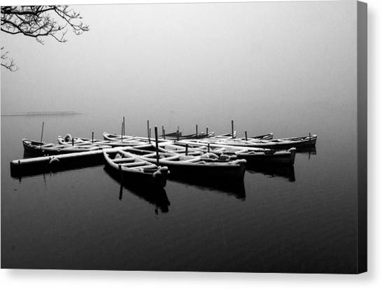 Foggy Morning On West Lake Canvas Print