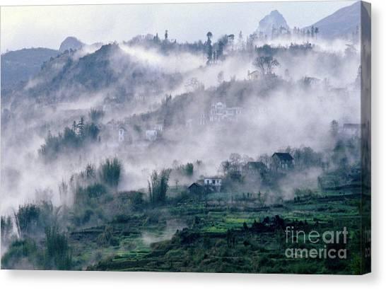 Foggy Mountain Of Sa Pa In Vietnam Canvas Print