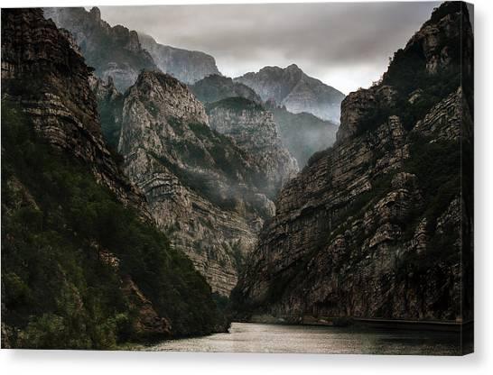 Foggy Mountains Over Neretva Gorge Canvas Print