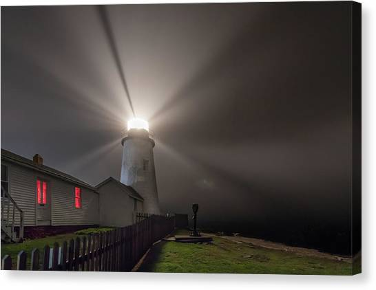 Foggy Night At Pemaquid Point Lighthouse Canvas Print