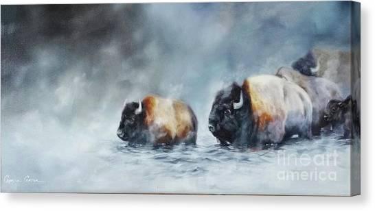 Foggy River Crossing Canvas Print