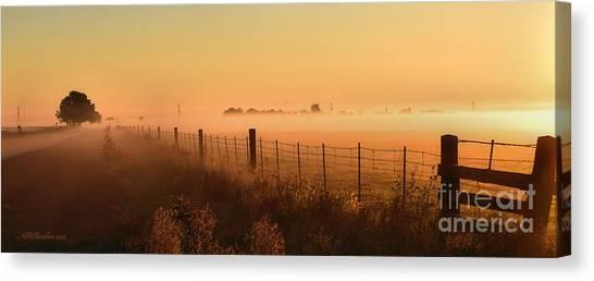 Foggy Sunrise On Hawkins Rd Canvas Print