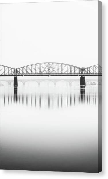 Foggy Winter Mood At Vltava River. Reflection Of Bridges In Water. Black And White Atmosphere, Prague, Czech Republic Canvas Print