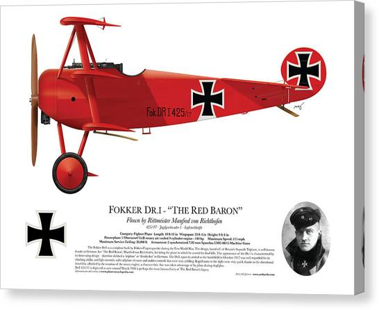 Profile Canvas Print - Fokker Dr.1 - The Red Baron - March 1918 by Ed Jackson