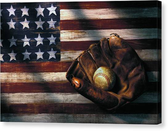 American Flag Canvas Print - Folk Art American Flag And Baseball Mitt by Garry Gay