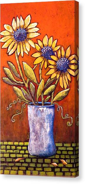 Folk Art Sunflowers Canvas Print