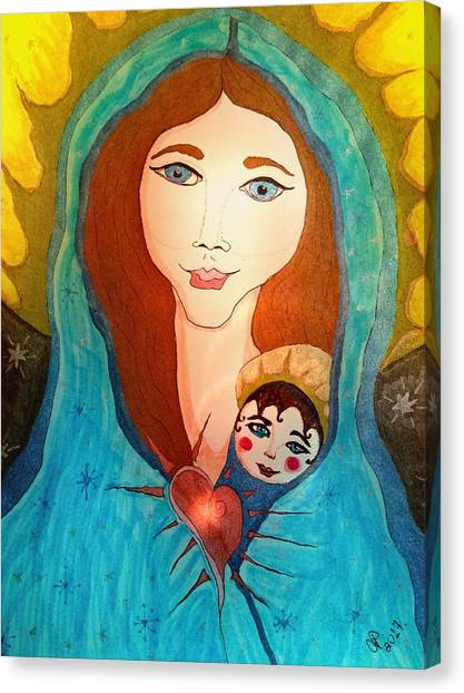 Folk Mother And Child Canvas Print