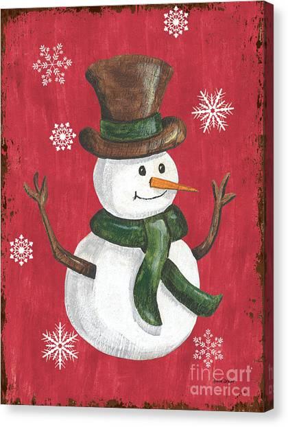 Celebration Canvas Print - Folk Snowman by Debbie DeWitt