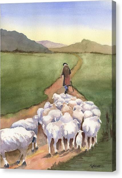 Sheep Canvas Print - Follow Me by Marsha Elliott
