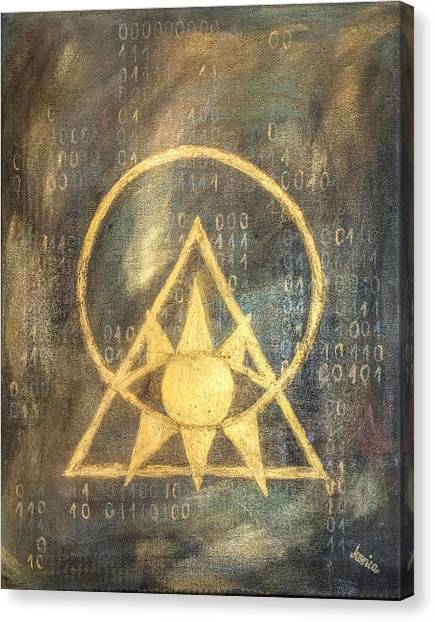 Triangle Canvas Print - Follow The Light - Illuminati And Binary by Marianna Mills
