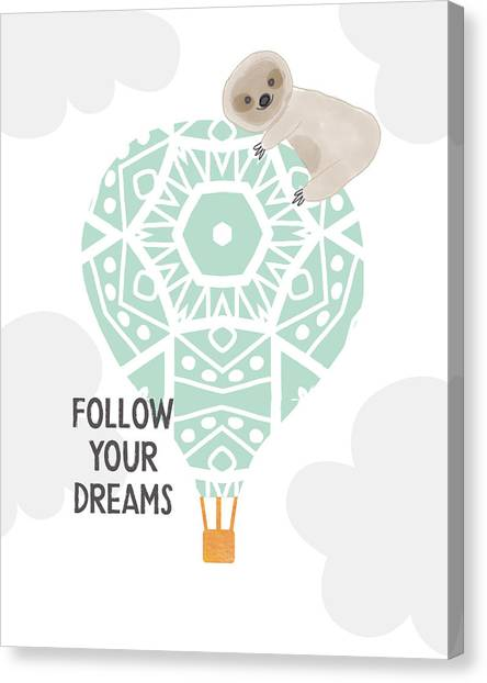 Hot Air Balloon Canvas Print - Follow Your Dreams Sloth- Art By Linda Woods by Linda Woods