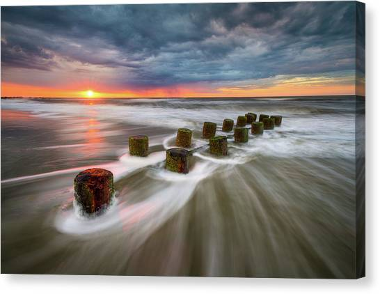 Folly Beach Charleston Sc South Carolina Sunrise Seascape Canvas Print