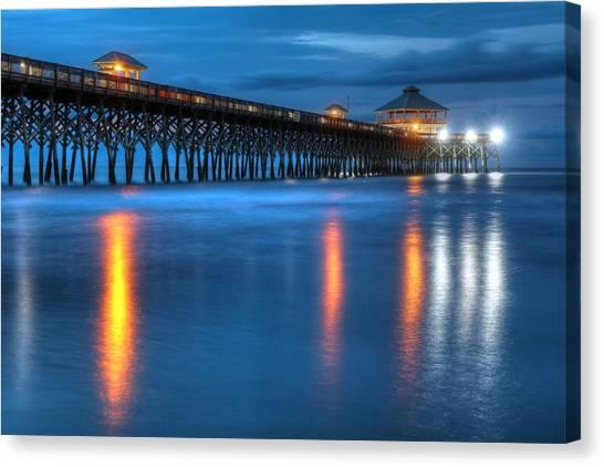 Folly Beach Pier At Blue Hour Charleston South Carolina Canvas Print