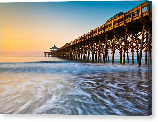 Folly Beach Pier Charleston Sc Coast Atlantic Ocean Pastel Sunrise Canvas Print