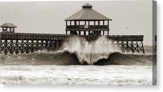 Carolina Hurricanes Canvas Print - Folly Beach Pier Hurricane Irene 2011 by Dustin K Ryan