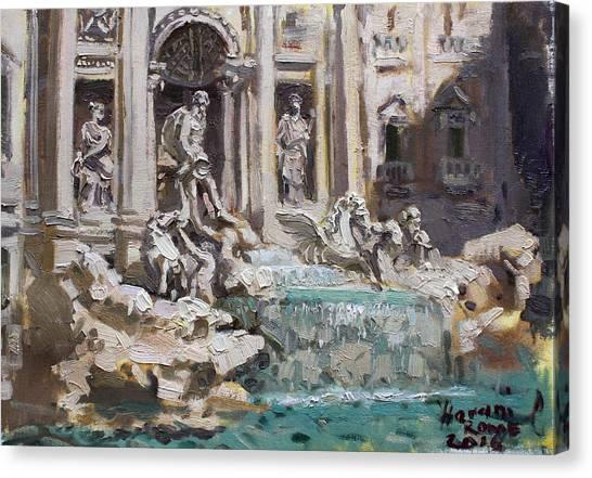 Rome Canvas Print - Fontana Di Trevi Rome by Ylli Haruni