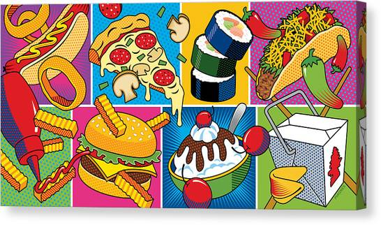 Hot Dogs Canvas Print - Food Essentials by Ron Magnes