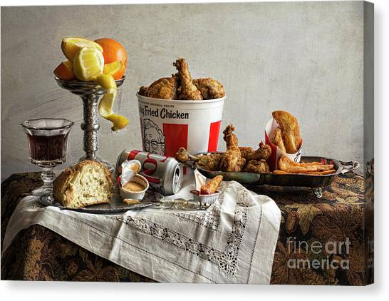 Fast Food Canvas Print - Food Not So Fast by Elena Nosyreva