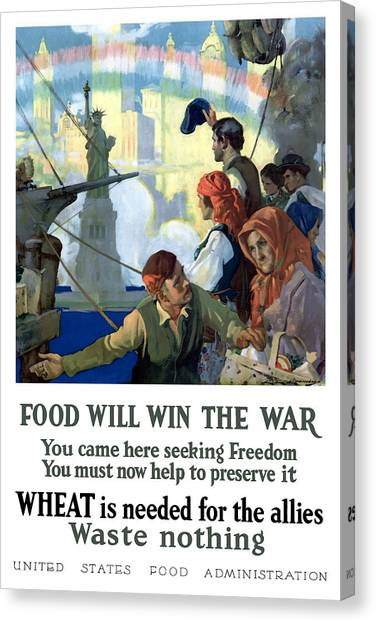 Statue Of Liberty Canvas Print - Food Will Win The War by War Is Hell Store