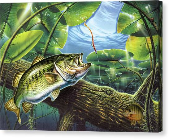 Angling Canvas Print - Fooled Again Bass II by JQ Licensing