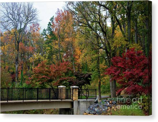 Foot Bridge In The Fall Canvas Print