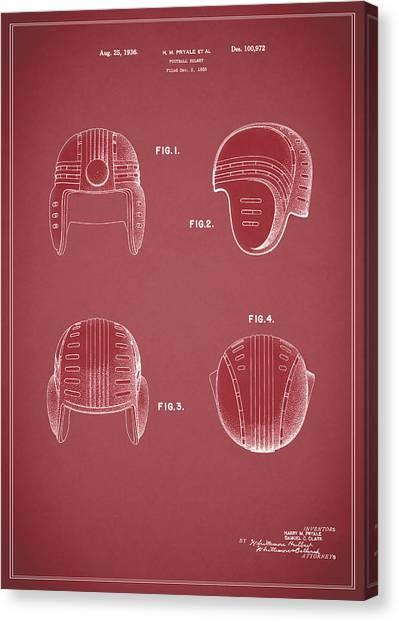 New York Jets Canvas Print - Football Helmet 1935 - Red by Mark Rogan