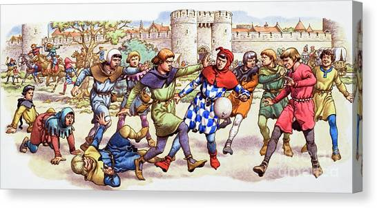 Tower Of London Canvas Print - Football In The Middle Ages by Pat Nicolle