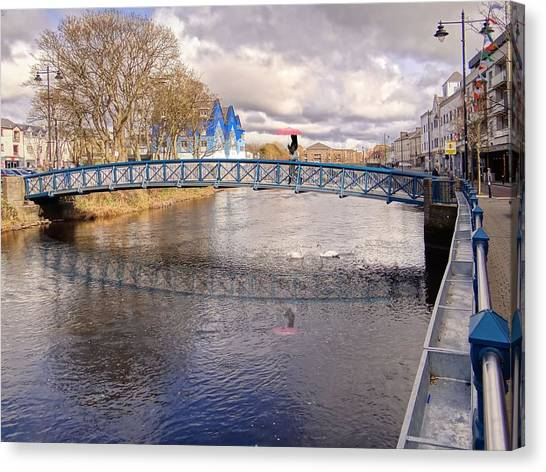 Footbridge Over The Garavogue River In Sligo With Reflections And Swans Sheltering Beneath It Canvas Print