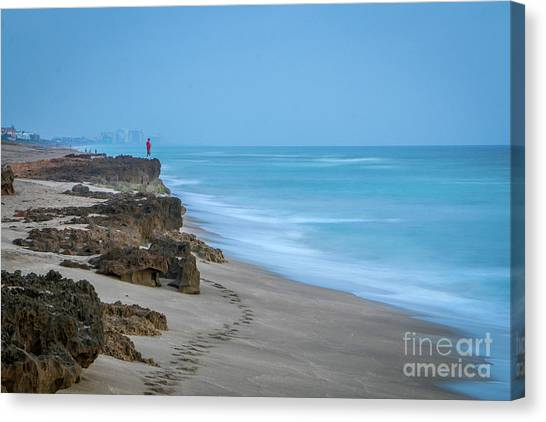 Canvas Print featuring the photograph Footprints And Rocks by Tom Claud