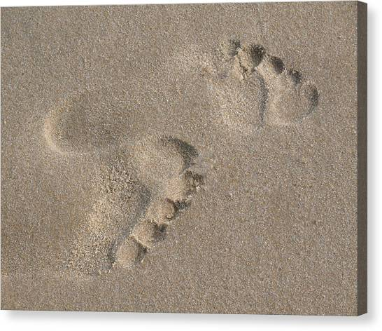 Footprints In The Sand 2 Canvas Print by Susan  Lipschutz
