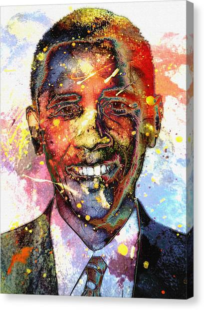 Barack Obama Canvas Print - For A Colored World by Steve K