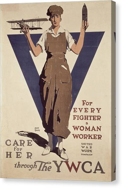 Wwi Canvas Print - For Every Fighter A Woman Worker by Adolph Treidler