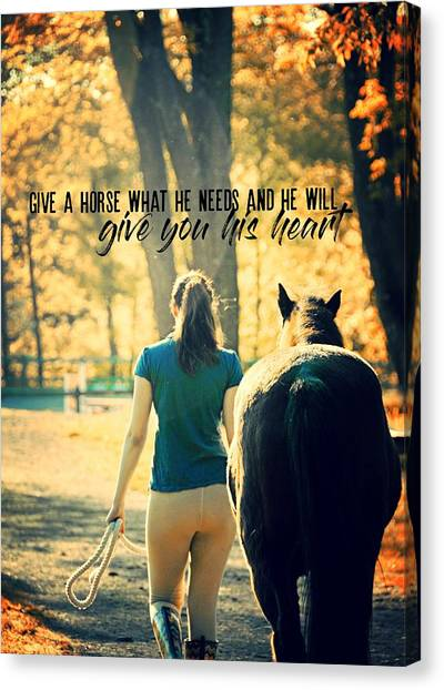 For The Love Of A Pony Quote Canvas Print