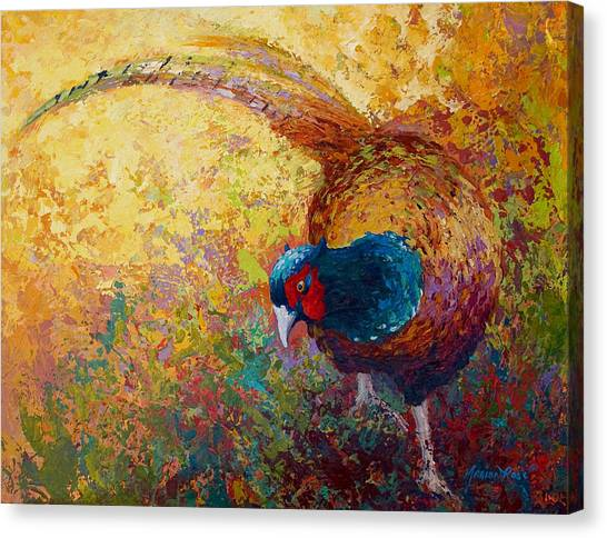 Bush Canvas Print - Foraging Pheasant by Marion Rose