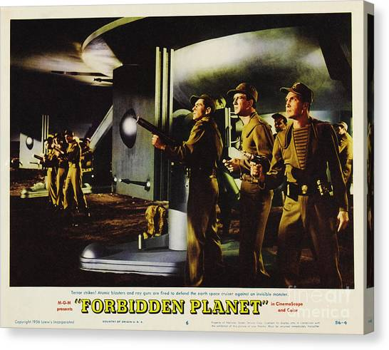 Forbidden Planet Canvas Print - Forbidden Planet In Cinemascope Retro Classic Movie Poster Fighting The Invisible Alien by R Muirhead Art