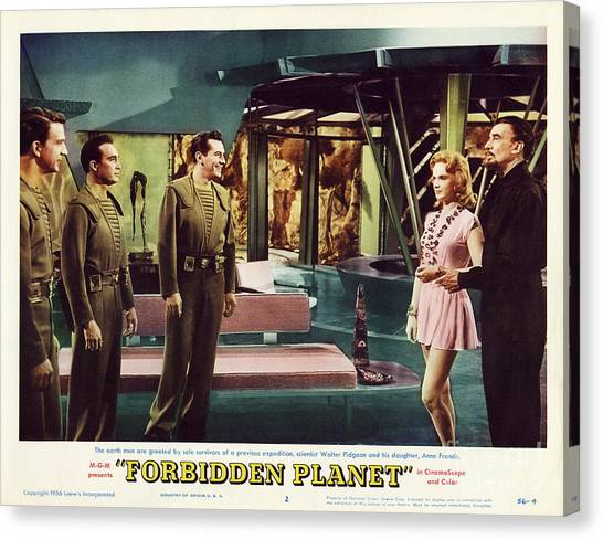 Forbidden Planet Canvas Print - Forbidden Planet In Cinemascope Retro Classic Movie Poster Indoors by R Muirhead Art