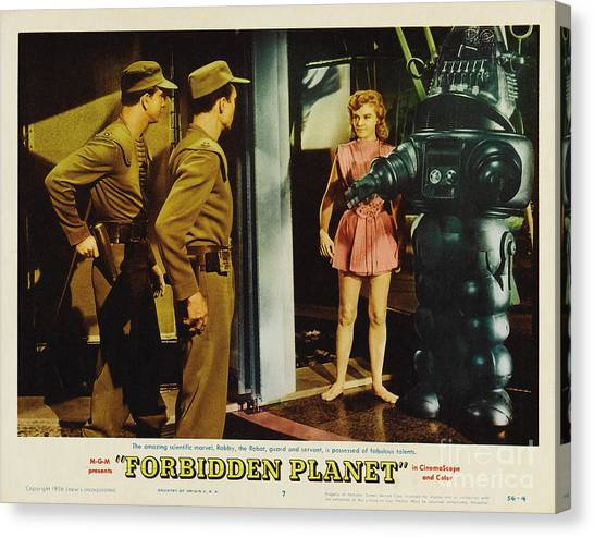 Forbidden Planet Canvas Print - Forbidden Planet In Cinemascope Retro Classic Movie Poster Indoors With Robby by R Muirhead Art